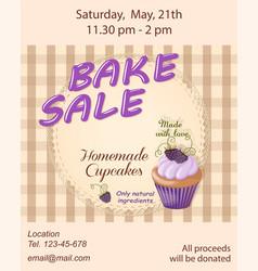 Bake sale promotion flyer with violet cupcake vector