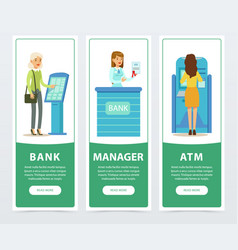 banking service set atm registration and payment vector image