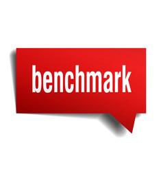 Benchmark red 3d speech bubble vector