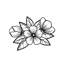 Branch of a blossoming tree in graphic black white vector