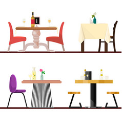 Cafe tables in restaurant setting dining vector