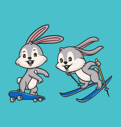 Cartoon animal design rabbit skateboarding and vector