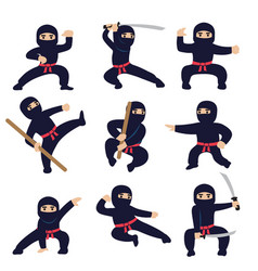 Cartoon funny warriors ninja or samurai vector