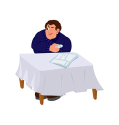 Cartoon man in blue sweater sitting at the table vector image