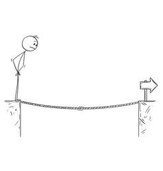 Cartoon of businessman facing tightrope challenge vector