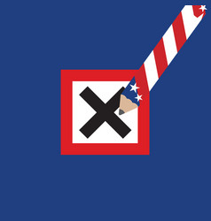 checkmark united stated america flag pencil vector image
