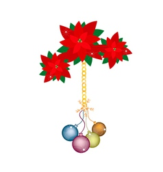Christmas Ball and Poinsettia Flowers with Bows vector image
