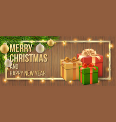 christmas card gift box and tree branch vector image