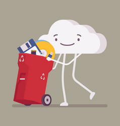 Cloud pushing trash bin with old memory storages vector
