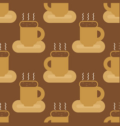 coffee mug seamless pattern cup of hot drink vector image