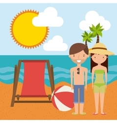 Couple cartoon and beach icon Summer design vector image