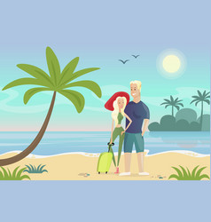 couple on beach young vector image