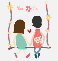 Couple sit on swing holding handand flower vector