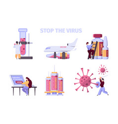 covid19 vaccination pharmaceutical collection vector image