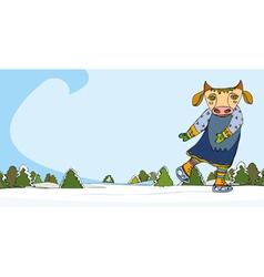 Cow Skater Winter vector