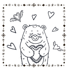cute bear with heart vector image