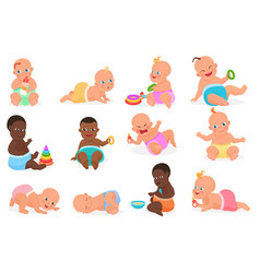 Cute little baby boy and girl in different vector