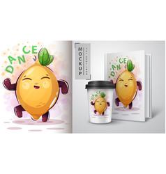 dance music lemon - mocup for your idea vector image