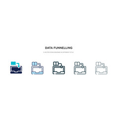 data funnelling icon in different style two vector image