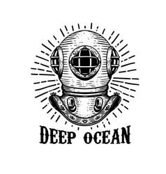 deep ocean old style diver helmet on white vector image