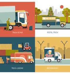 Delivery Trucks 2x2 Design Concept vector image