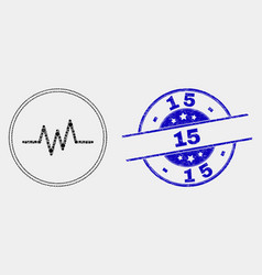Dotted pulse signal icon and scratched 15 vector