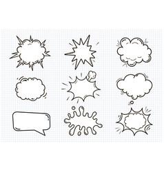 Empty comic sound speech bubbles set isolated on vector