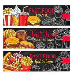 fast food restaurant menu chalkboard banner set vector image