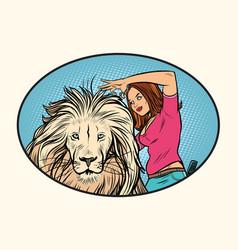 Female stylist hairdresser cuts mane a lion vector
