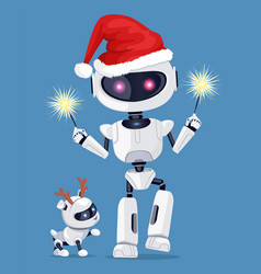 Festive robot in red santa s hat with cute puppy vector