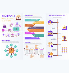 fintech financial technology infographic elements vector image