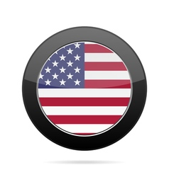 Flag of USA Shiny black round button vector