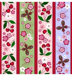 Floral striped pattern vector