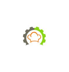 Gear chef hat cook logo vector