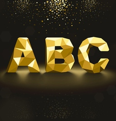 Golden lowpoly font from a to c vector