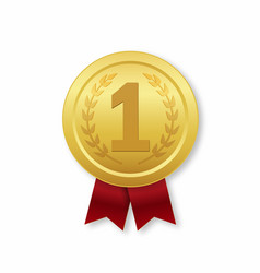 Golden medal 1st place prize icon with red vector