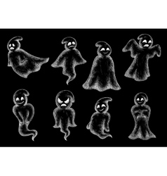 Halloween funny ghosts chalk cartoon icons vector