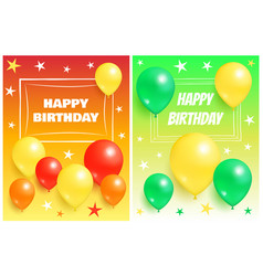 Happy birthday backgrounds invitation cards set vector