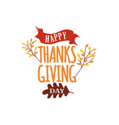 Happy thanksgiving day text with autumn fall tree vector