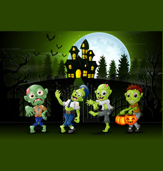 Happy zombie kids outdoors with haunted house back vector