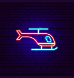 Helicopter neon sign vector