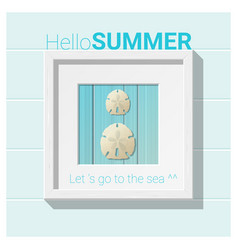 hello summer background with seashell wall art vector image vector image