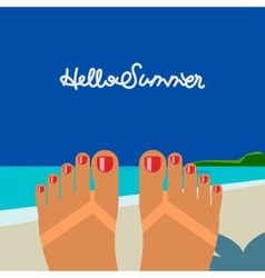 Hello summer self shoot female feet tanned on the vector