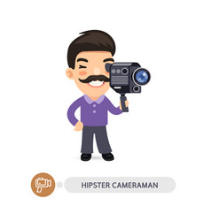 Hipster cameraman flat cartoon character vector