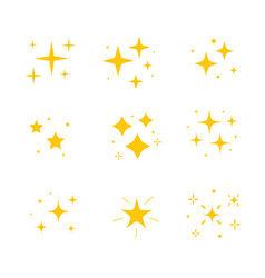 icon bright twinkle sparkles set yellow vector image