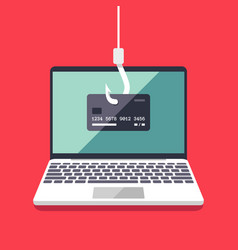 internet phishing and hacking attack flat vector image