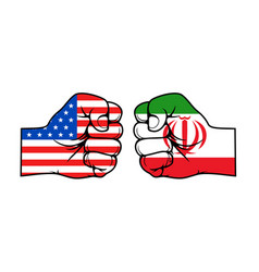 Iran and usa political conflict fists with flags vector