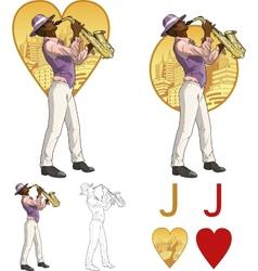 Jack of hearts afroamerican musician Mafia card vector image