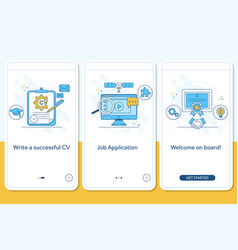 job searching onboarding mobile app page screen vector image