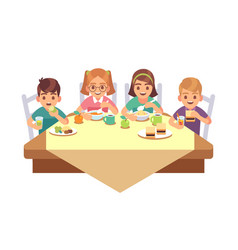 kids eat together children eating dinner cafe vector image